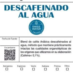 Cafe descafeinado al agua